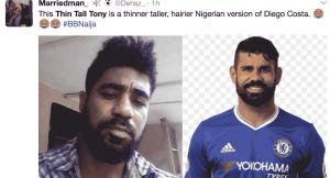 Nigerians are saying Big Brother Naija Thin Tall Tony looks like Diego Costa (photos)